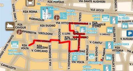 Cartina Como Centro e Lecco Itinerario Manzoniano