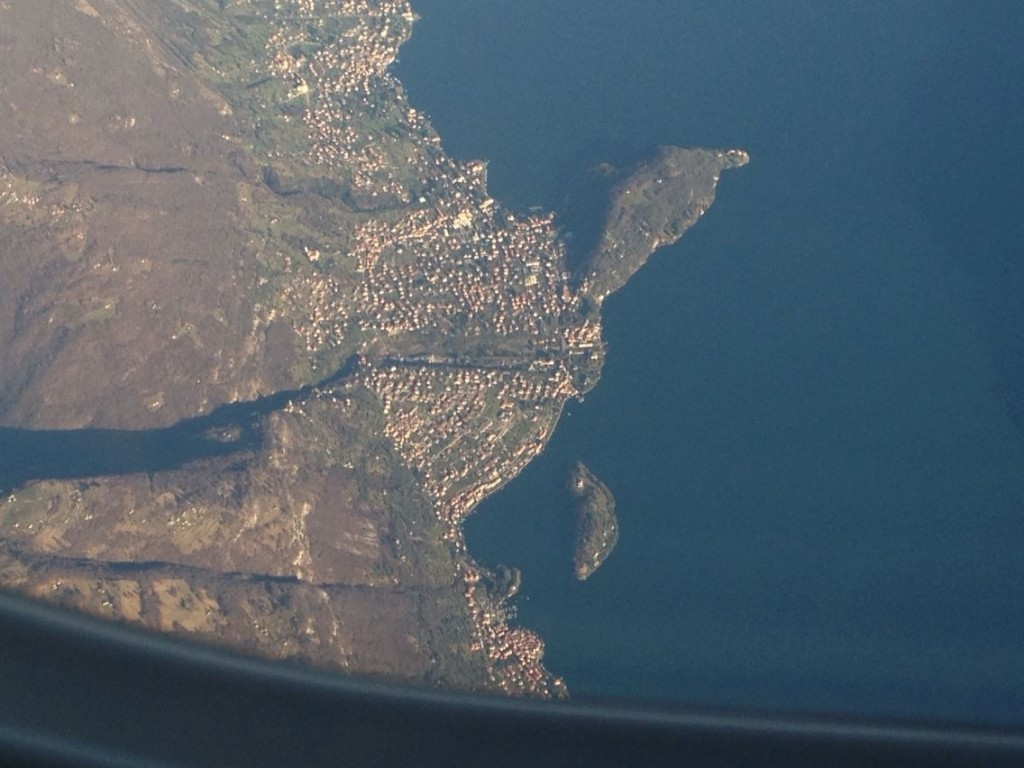 Punta del Balbianello e Isola Comacina dall'alto